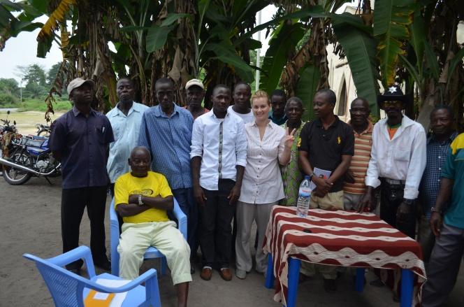 Gabriella with village headman, Cabinda province, Angola. Phospahte client